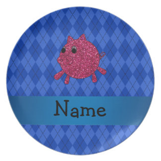 Personalized name glitter pig blue argyle dinner plate