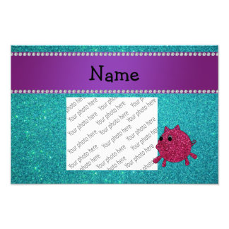 Personalized name glitter pig turquoise glitter photo