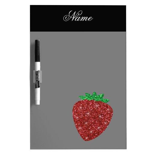 Personalized name glitter strawberry black dry erase boards