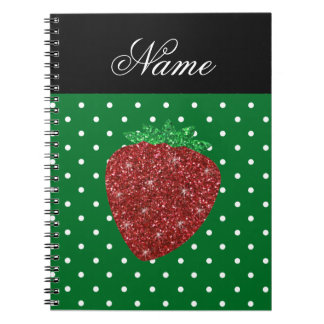 Personalized name glitter strawberry green dots note book