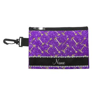 Personalized name gold arrow indigo purple glitter accessory bag