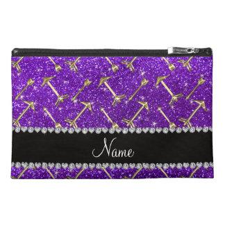 Personalized name gold arrow indigo purple glitter travel accessory bag
