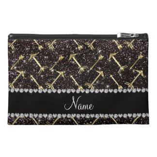 Personalized name gold arrows black glitter travel accessories bags