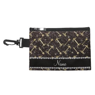 Personalized name gold arrows black glitter accessories bag