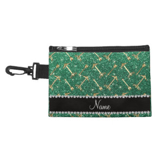 Personalized name gold arrows mint green glitter accessory bags