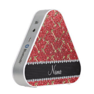 Personalized name gold arrows red glitter bluetooth speaker