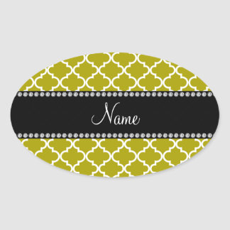 Personalized name Gold colored moroccan Oval Sticker