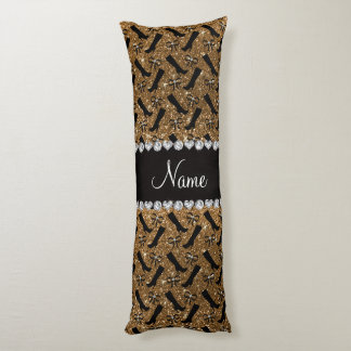Personalized name gold glitter boots bows body pillow