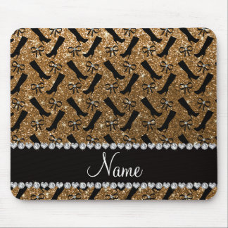 Personalized name gold glitter boots bows mouse pad