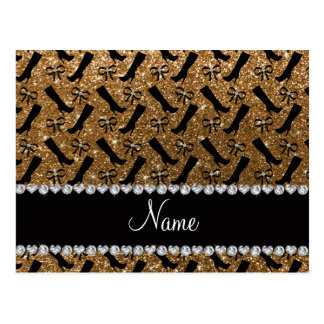 Personalized name gold glitter boots bows postcard