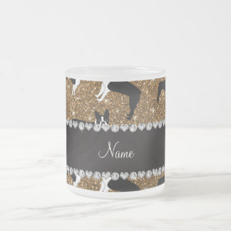 Personalized name gold glitter boston terrier 10 oz frosted glass coffee mug