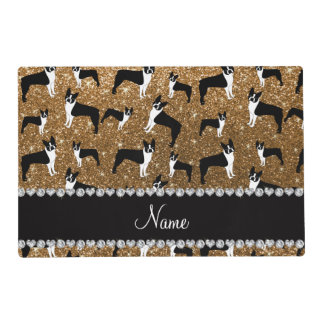 Personalized name gold glitter boston terrier placemat