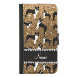 Personalized name gold glitter boston terrier wallet phone case for samsung galaxy s5