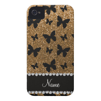 Personalized name gold glitter butterflies iPhone 4 cover
