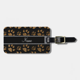 Personalized name gold glitter cat paws bag tag