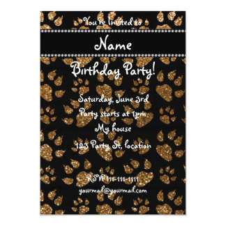 Personalized name gold glitter cat paws 5x7 paper invitation card