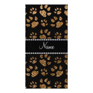 Personalized name gold glitter cat paws photo cards