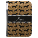 Personalized name gold glitter dachshunds kindle covers