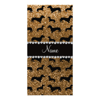 Personalized name gold glitter dachshunds photo card template