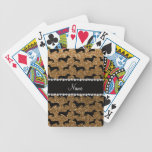 Personalized name gold glitter dachshunds bicycle playing cards