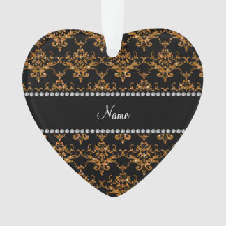 Personalized name gold glitter damask