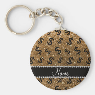 Personalized name gold glitter dollar signs basic round button keychain