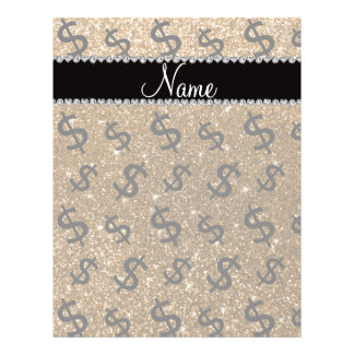 """Personalized name gold glitter dollar signs 8.5"""" x 11"""" flyer"""