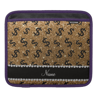 Personalized name gold glitter dollar signs iPad sleeves