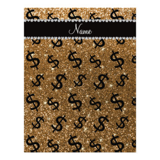 Personalized name gold glitter dollar signs letterhead