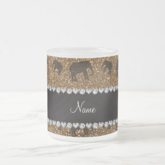 Personalized name gold glitter elephants frosted glass coffee mug