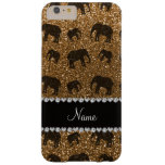Personalized name gold glitter elephants barely there iPhone 6 plus case