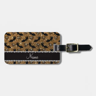 Personalized name gold glitter fancy shoes bows bag tag