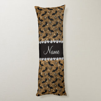 Personalized name gold glitter fancy shoes bows body pillow
