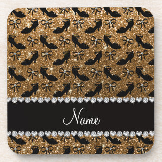 Personalized name gold glitter fancy shoes bows coaster