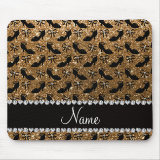 Personalized name gold glitter fancy shoes bows mouse pad