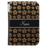 Personalized name gold glitter flowers kindle 3 cases