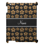 Personalized name gold glitter flowers iPad cover