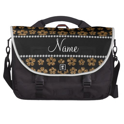Personalized name gold glitter flowers laptop bag