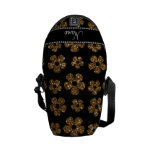 Personalized name gold glitter flowers courier bags
