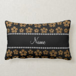 Personalized name gold glitter flowers pillows