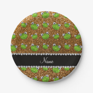 Personalized name gold glitter frogs 7 inch paper plate