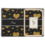 Personalized name gold glitter hearts iPad air cover