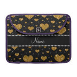 Personalized name gold glitter hearts MacBook pro sleeve