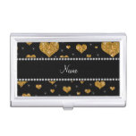 Personalized name gold glitter hearts case for business cards