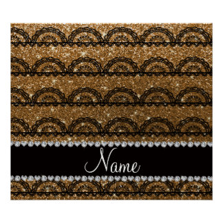 Personalized name gold glitter lace poster