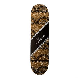 Personalized name gold glitter lace skate board decks
