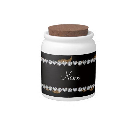 Personalized name gold glitter mustaches candy dish