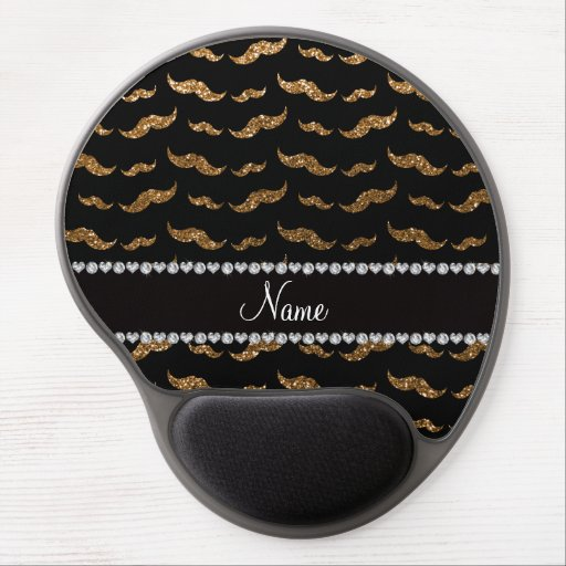 Personalized name gold glitter mustaches gel mouse pad