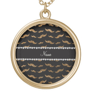 Personalized name gold glitter mustaches pendants