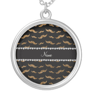 Personalized name gold glitter mustaches custom necklace